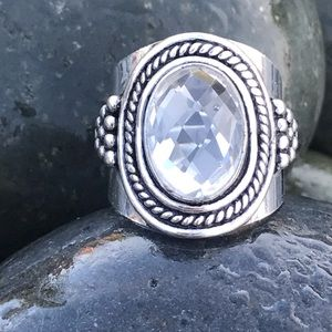 Sundance sterling silver clear quartz RING band